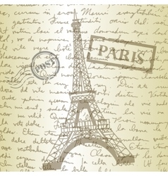 Table top with sketching paper and eiffel tower vector