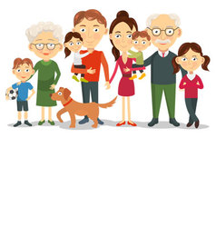 Big and happy family portrait vector