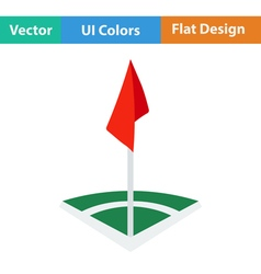 Icon of football field corner flag vector