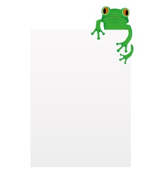 Green tree frog sitting on blank paper vector