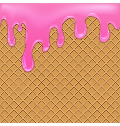 Waffle background with jam vector