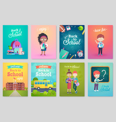 Back to school card set school kids chalkboards vector