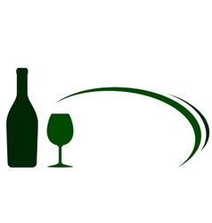 Backgound with green wine bottle and glass vector