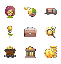 Bank icons set cartoon style vector