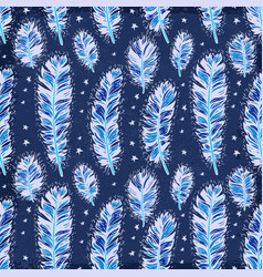 blue vintage feather indian seamless pattern vector image