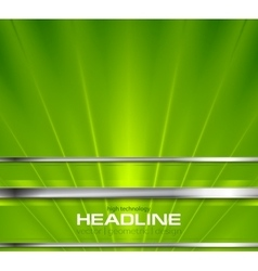 Bright green beams and silver stripes design vector