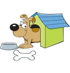 Cartoon dog in a doghouse vector