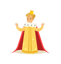 Cute little blonde boy wearing a king costume vector