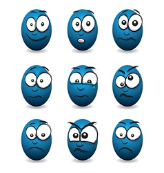 emotions eggs blue group vector image vector image