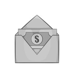 Envelope with money icon black monochrome style vector image vector image