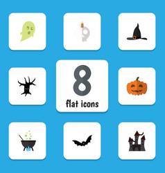 Flat icon celebrate set of phantom witch cap vector