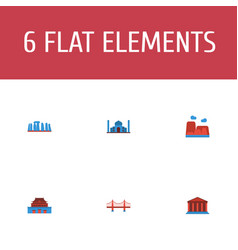 Flat icons the forbidden city drought courthouse vector