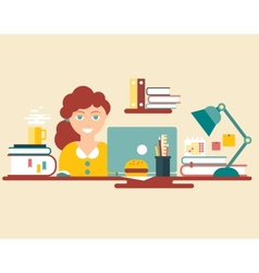 Flat style design work place vector image