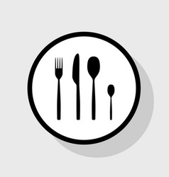 Fork spoon and knife sign flat black icon vector