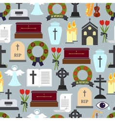 Funerals and mournful ceremony patterns vector