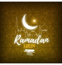 Greeting card for islamic holy month of prayers vector
