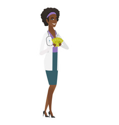happy african-american doctor holding money vector image vector image