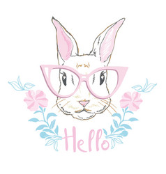 Happy easter bunny for easter greeting card vector