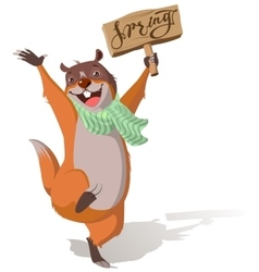 Joyful groundhog jumping and welcomes spring vector