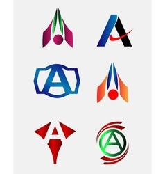 Letter A logo element set vector image