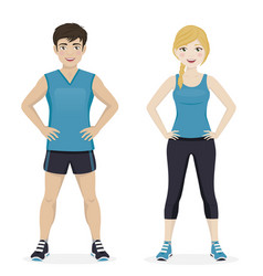 man and woman playing sport with blue sportswear vector image