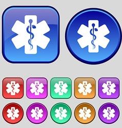 Medicine icon sign a set of twelve vintage buttons vector