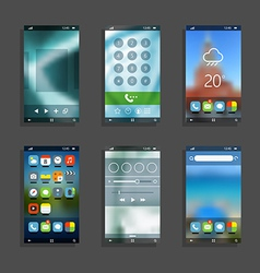 Modern smartphones with different application scre vector image vector image
