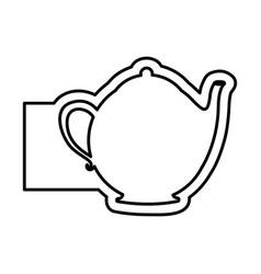 monochrome contour emblem with teapot of tea vector image