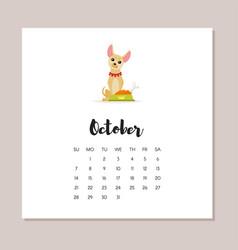 october dog 2018 year calendar vector image vector image