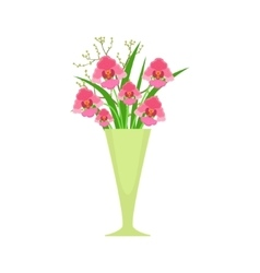 Orchids flower bouquet in tall flower vase flower vector