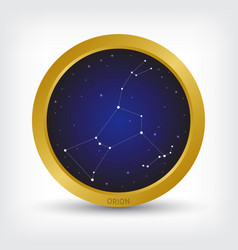 Orion constellation in golden circle vector