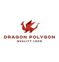 Polygon dragon origami logo professional vector