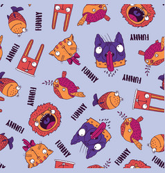 seamless pattern with animals on blue background vector image vector image
