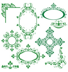Set of floral elements - corner oval circle vector image vector image