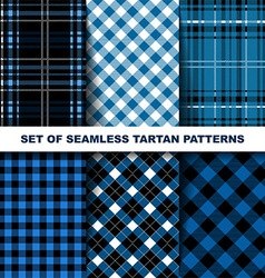 Set of seamless tartan patterns Blue version vector image vector image