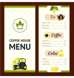 Tea cafe menu vector