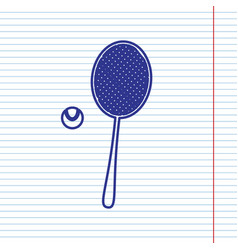 Tennis racquet with ball sign navy line vector