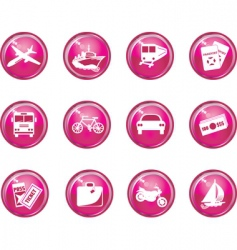 travel button icons vector image