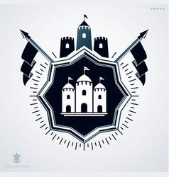 Vintage decorative heraldic emblem composed vector