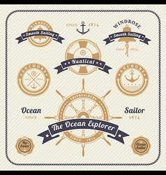 Vintage nautical labels set on light bcakground vector