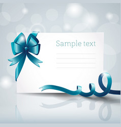 White postcard with ribbon vector