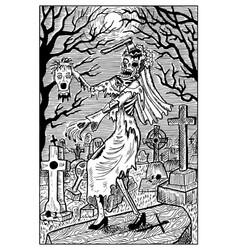 zombie bride engraved fantasy vector image vector image