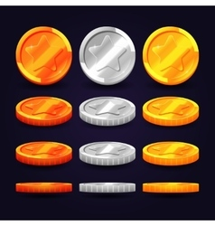 Gold silver and copper coins in different vector