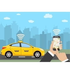 Hands with smartphone and taxi application vector image
