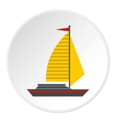 Yacht with sails icon flat style vector