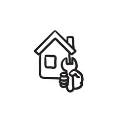 House repair sketch icon vector