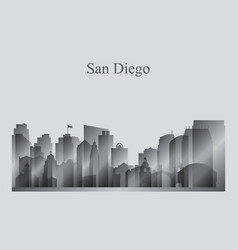 San diego city skyline silhouette in grayscale vector