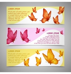 Butterflies banners set vector