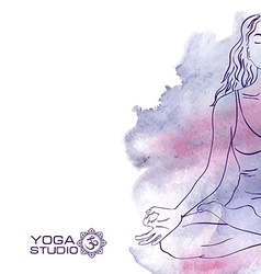 Woman sitting in the lotus yoga pose vector