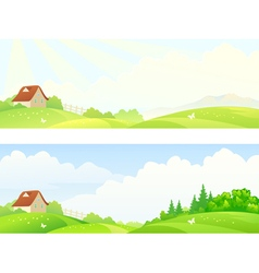 Morning hills banners vector